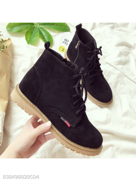 Plain Flat Velvet Criss Cross Round Toe Outdoor Flat Boots