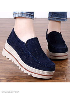 Hollow Out Plain High Heeled Velvet Round Toe Outdoor Sneakers