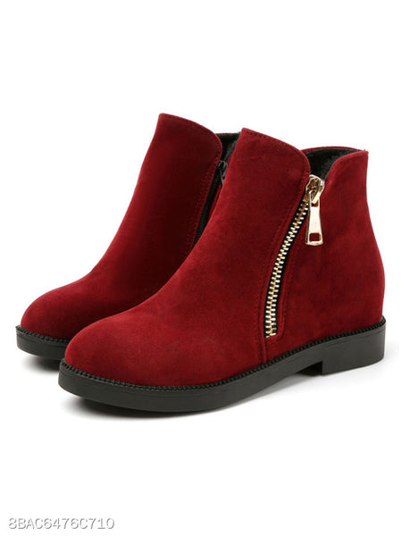 Plain Flat Suede Round Toe Outdoor Flat Boots