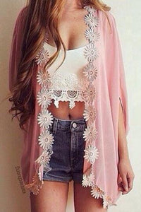Lace Plain Long Sleeve Cardigans