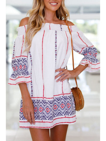 Off Shoulder Printed Long Sleeve Casual Dresses