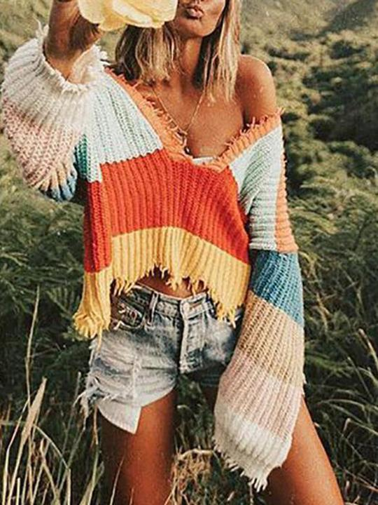 V-Neck Rainbow Striped Fringed Loose Irregular Knit Sweater