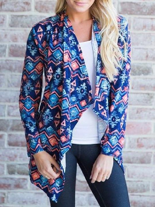 Open Front Geometric Pattern Long Seeves Cardigan