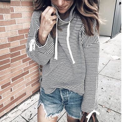 Casual Striped Turtleneck Long Sleeve Shirt