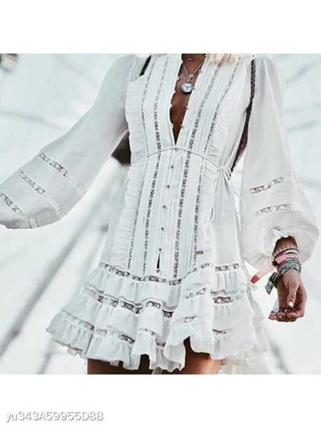 Fashion Lantern Sleeve Hollow Out Ruffles Lace Up Shift Dress