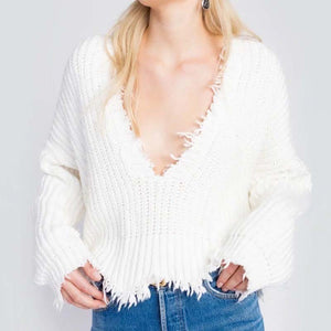 Large V-Neck Wear Tassel Loose New Bottoming Sweater