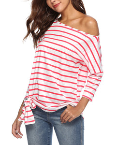 Striped Shoulder Bat Sleeve Loose Casual T-Shirt