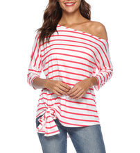 Load image into Gallery viewer, Striped Shoulder Bat Sleeve Loose Casual T-Shirt