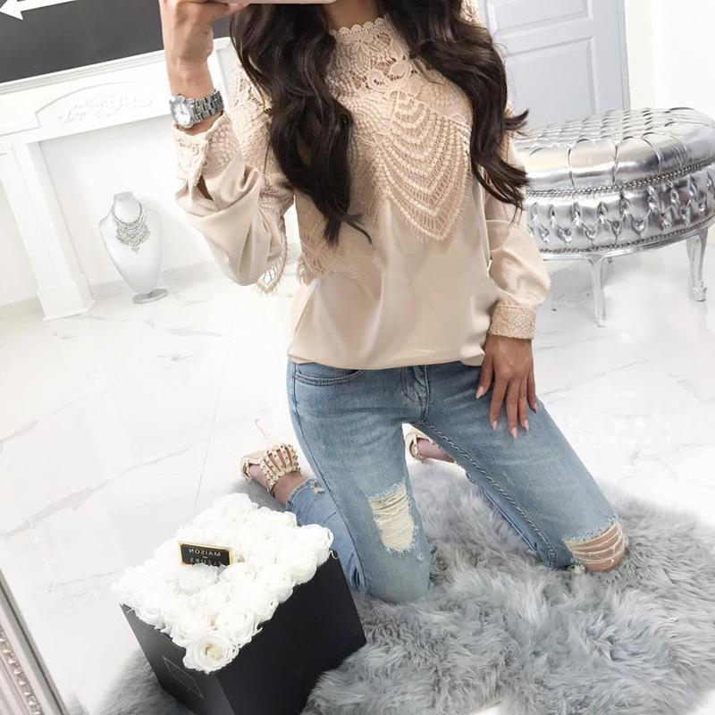 Round Neck Lace Patchwork Long Sleeve Blouse