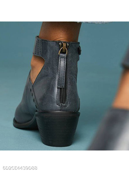 Plain Chunky High Heeled Point Toe Outdoor High Heels Boots
