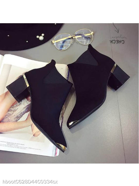 Plain Chunky High Heeled Velvet Point Toe Date High Heels Boots