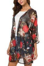 Load image into Gallery viewer, Flower Printed Open Front Cardigan