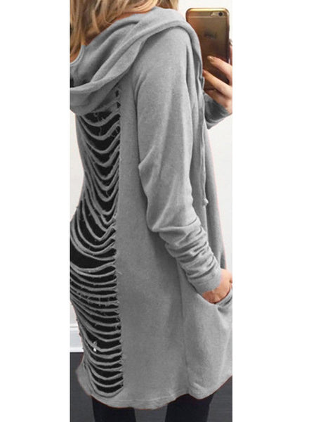 Back Hole Long Sleeve Cardigans