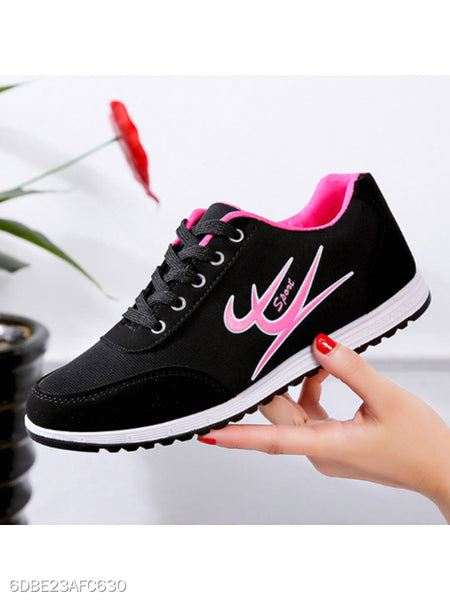 Color Block Flat Criss Cross Round Toe Casual Sneakers