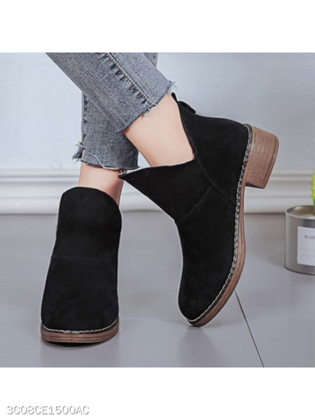 Plain Low Heeled Velvet Round Toe Outdoor Ankle Boots