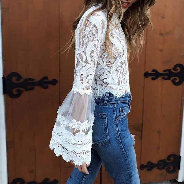 Sexy Fashion Lace Long Sleeve Blouses