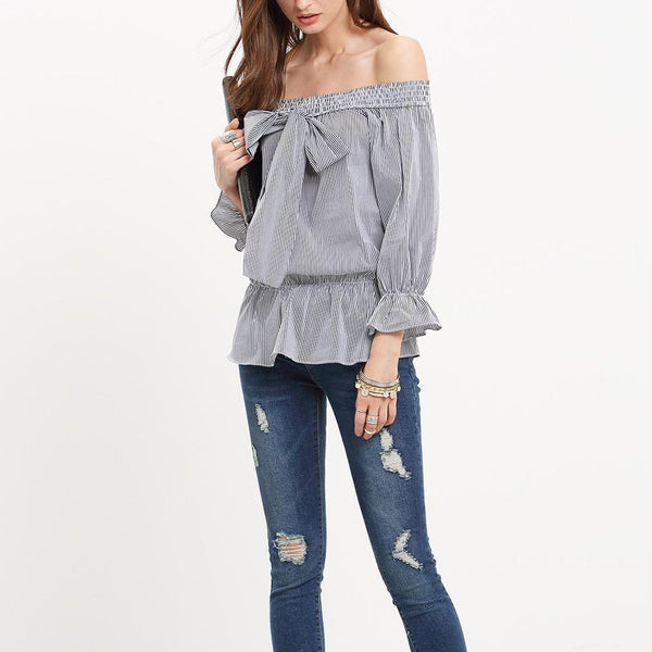 One-Shoulder Striped Trumpet Sleeve Top Blouse