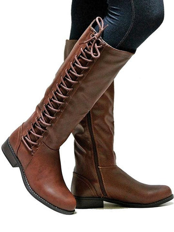 Plus Size Round Toes Knee High Boots