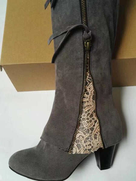 Zip Up Heeled Boots With Lace
