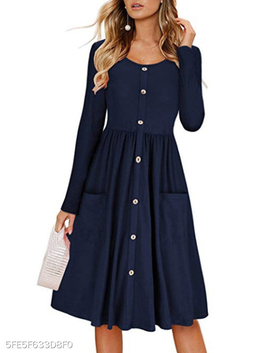 Round Neck Decorative Buttons Patch Pocket Plain Skater Dress
