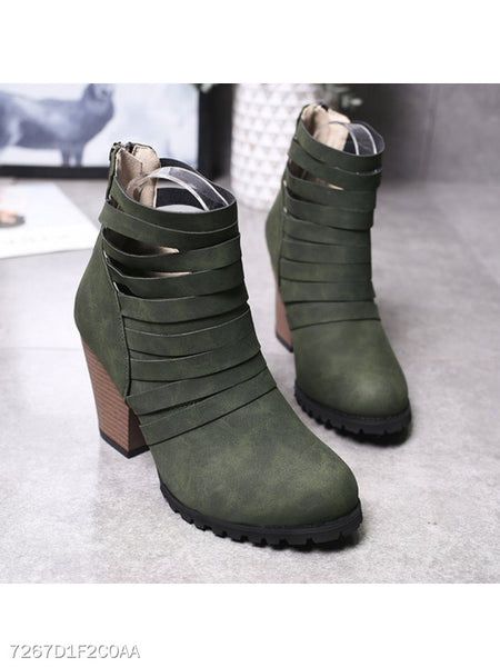 Plain High Heeled Velvet Round Toe Outdoor High Heels Boots