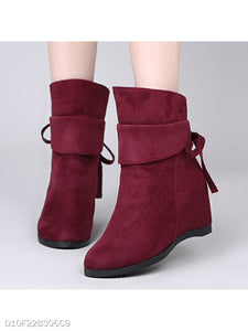 Plain Invisible Mid Heeled Velvet Round Toe Date High Heels Boots