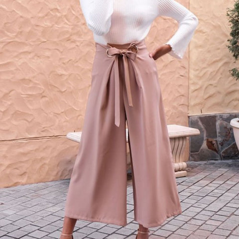 Fashion Plain Wide-Legs Jumpsuit Pants