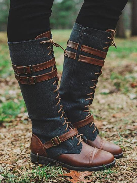 Lace Up Spliced Buckle Boot