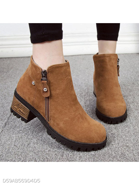 Plain Chunky Mid Heeled Velvet Round Toe Outdoor Ankle Boots