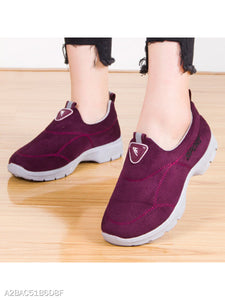 Plain Flat Velvet Round Toe Casual Sneakers