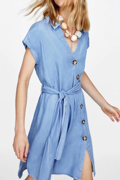 Sexy V Collar Short Sleeve Button Lace-Up Shift Dress