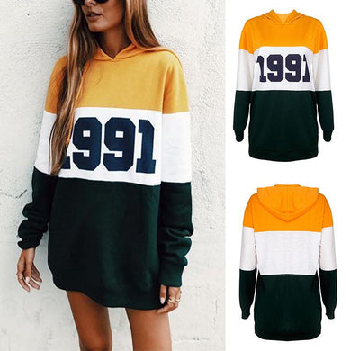 Printed Colorblock Long-Sleeved Hoodie
