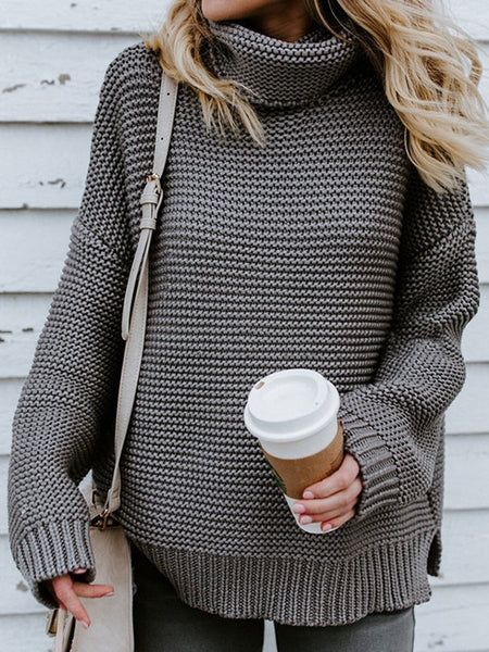 Stylish Solid Color Turtleneck Slit Sweater