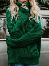 Load image into Gallery viewer, Stylish Solid Color Turtleneck Slit Sweater