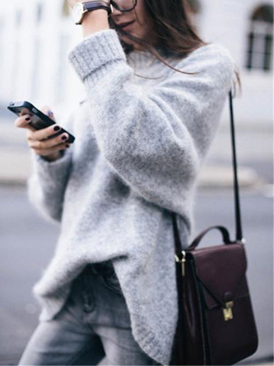 Cozy Turtleneck Rib Splicing Long Sleeves Sweater