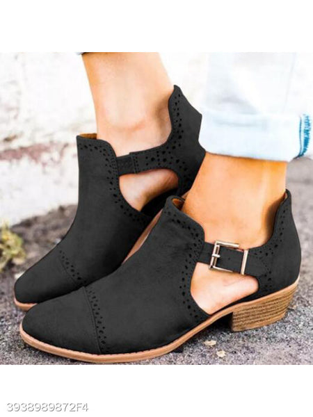 Plain Chunky Mid Heeled Velvet Point Toe Outdoor Ankle Boots