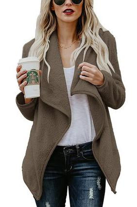 Long Sleeve Irregular Cardigan Thicken Wool Coats