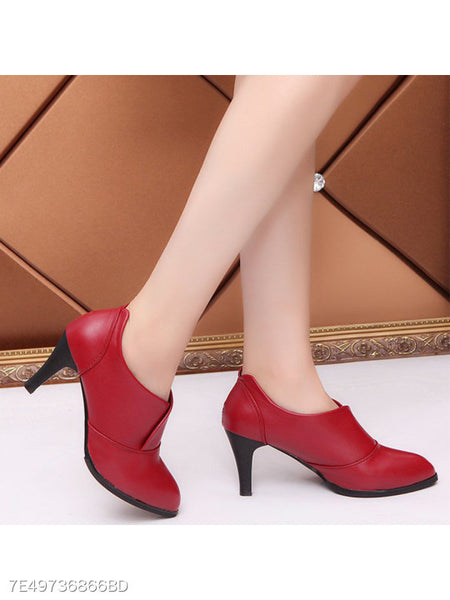 Plain Stiletto High Heeled Point Toe Date Outdoor High Heels Boots