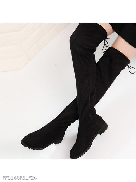 Plain Flat Velvet Point Toe Date Thigh High Flat Boots