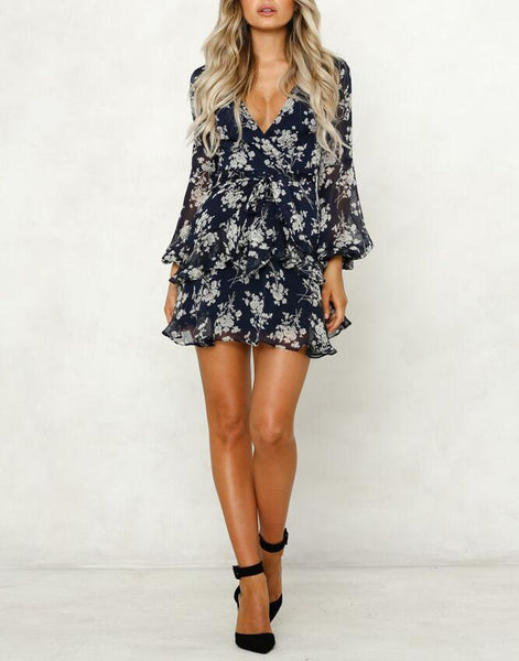 Deep V Print Long Sleeve Holiday Dress