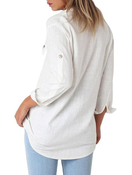 Solid Color Button Loose Long Sleeve Pocket Blouses