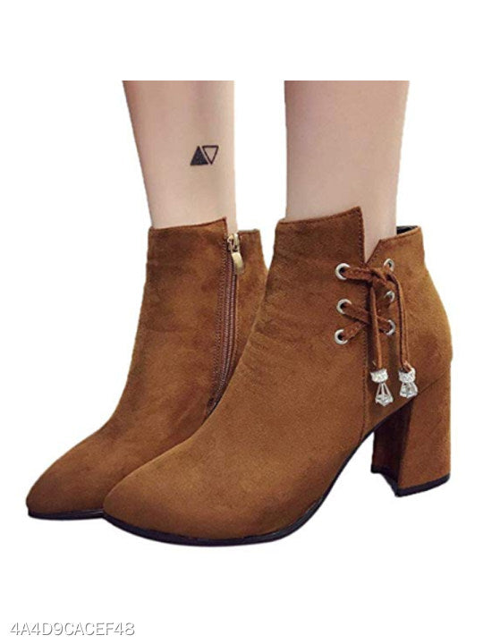 Plain Chunky High Heeled Velvet Point Toe Date Outdoor High Heels Boots