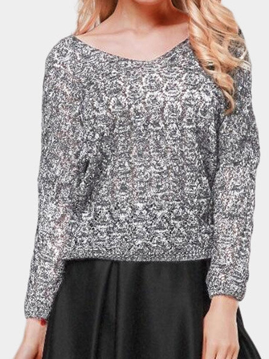 Hollow Out Batwing Sleeve V-Neck Sweaters