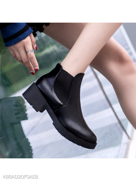 Plain Chunky Mid Heeled Round Toe Outdoor High Heels Boots