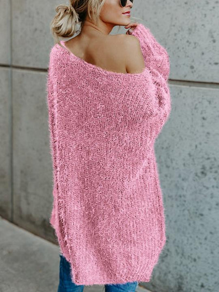 Long Sleeve Slanted Shoulder Sweater
