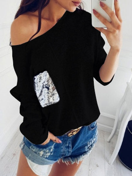 Sequin Spliced Bat Sleeve Sweater