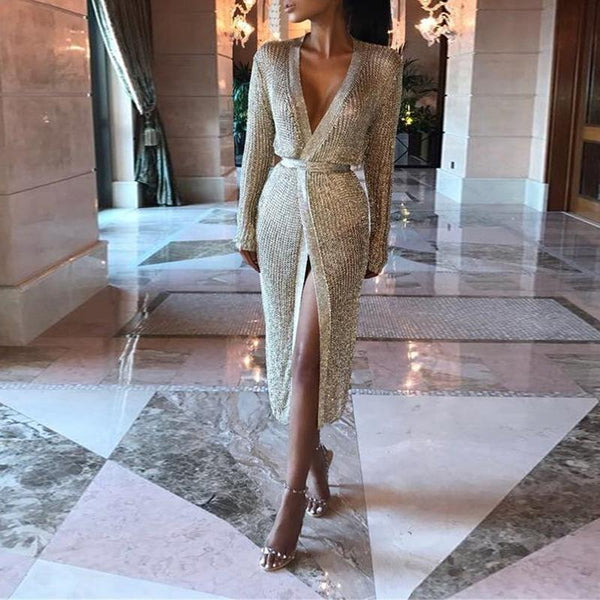Deep V Neck Sexy Hollow Out Belt Long Sleeve Bodycon Dress