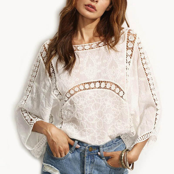 Round  Neck Lace Plain Casual Blouse