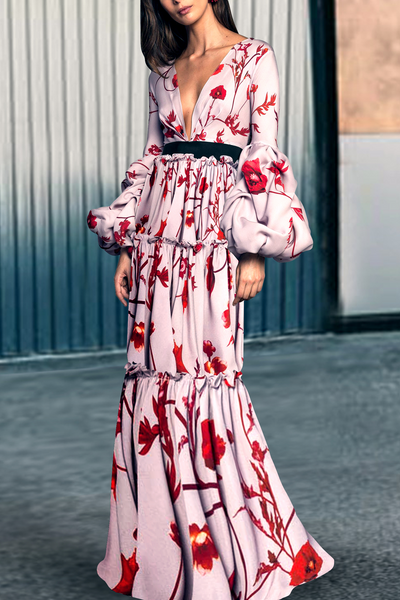 Sexy Floral Deep V Collar Puff Long Sleeve Joint Maxi Dress