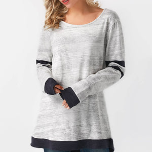 Solid Solid Color Stitching Long Sleeve TopColor Stitching Long Sleeve Top